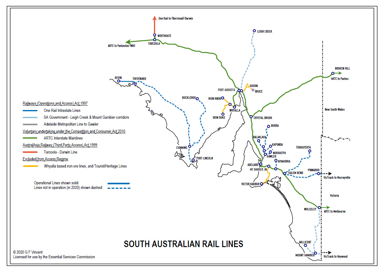 Map of SA rail lines